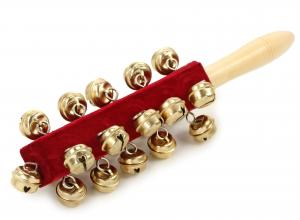 Picture of an instrument that jingles (red with gold bells)