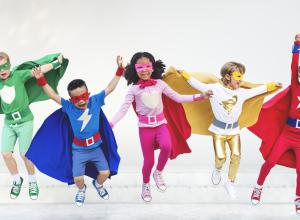 "Kids dressed up as superheroes for a ""non-food"" reward."