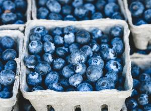 Blueberries in small cartons.