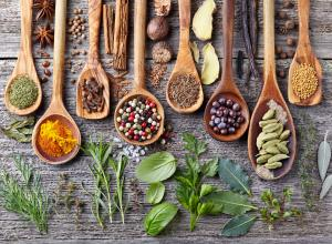 An array of spices and herbs.
