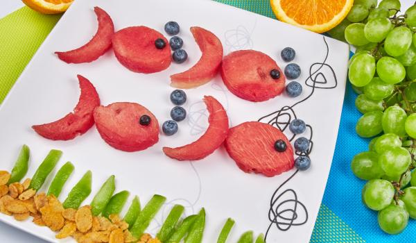 Fish made from watermelon and blueberries
