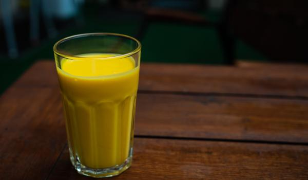 Mango lassi in a glass