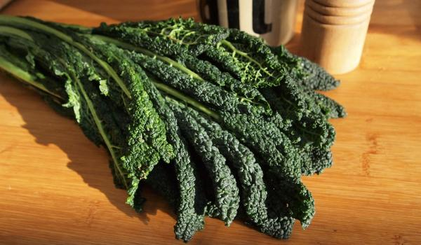 Kale on a kitchen counter.