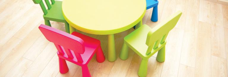 Children's chairs around a table